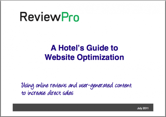 Hotel website optimization with online reviews and reputation management