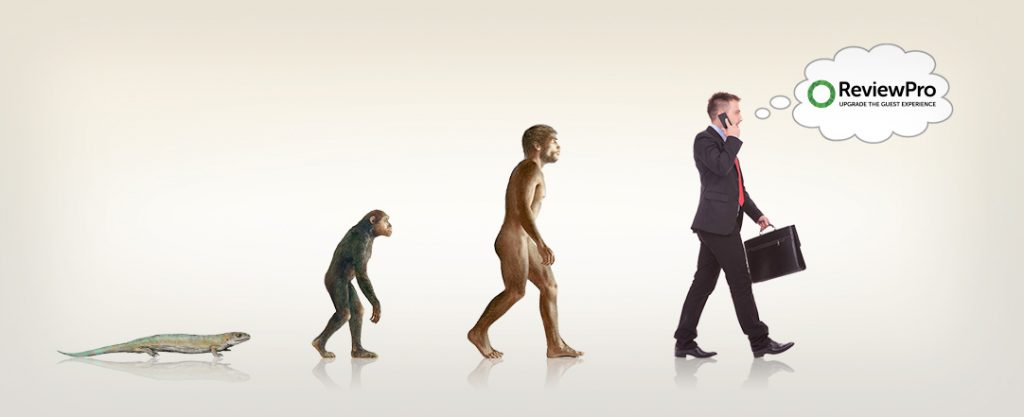 Evolution of lower life form to mammal to business man with a ReviewPro thought bubble