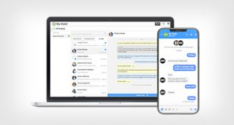 Laptop and mobile showing ReviewPro's Guest Messaging Hub tool