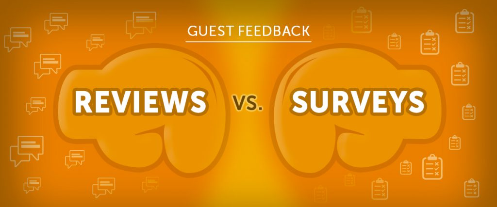 Boxing gloves metaphor for guest feedback reviews vs surveys
