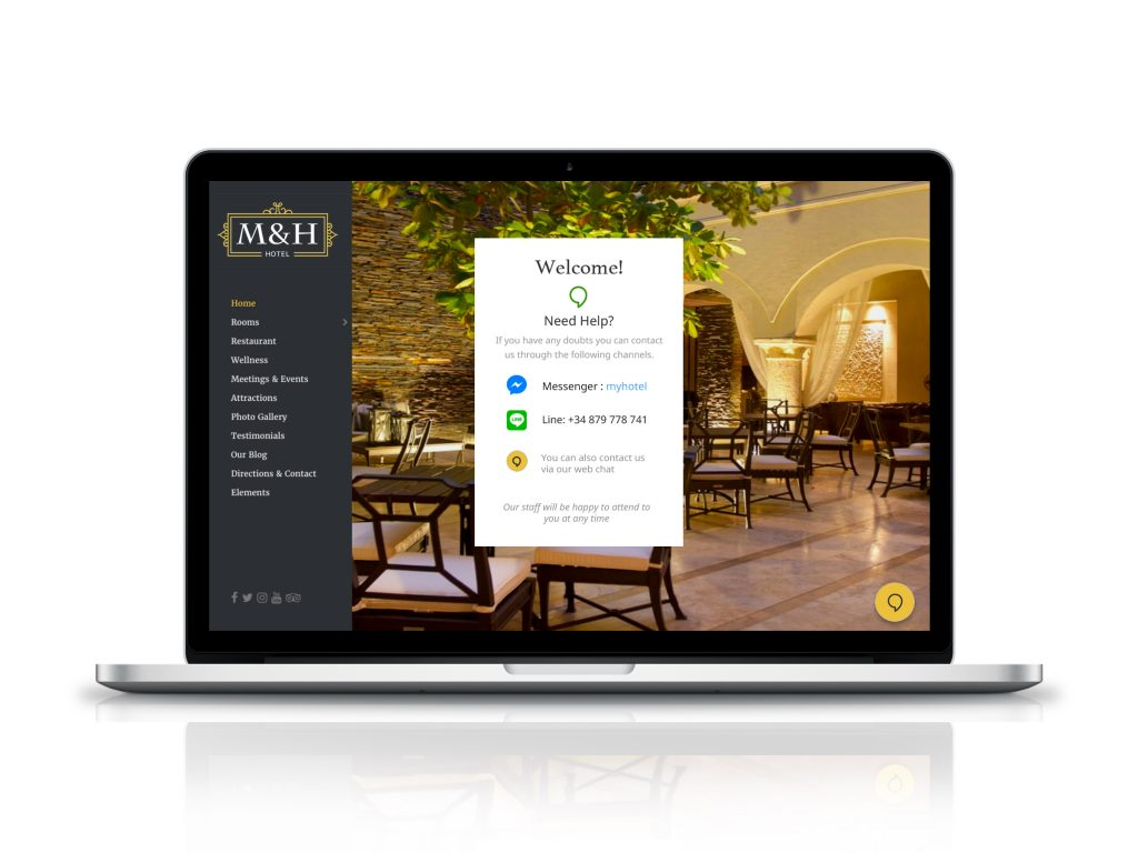 Guest Messaging Hub on website screen