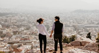 An example fo China tourism: couple overlooking city