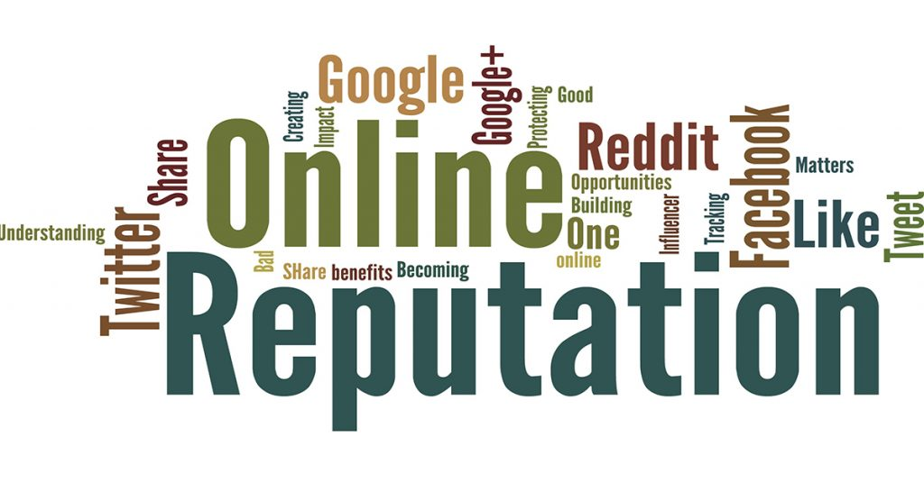 word cloud showing social media and other words affecting online reputation
