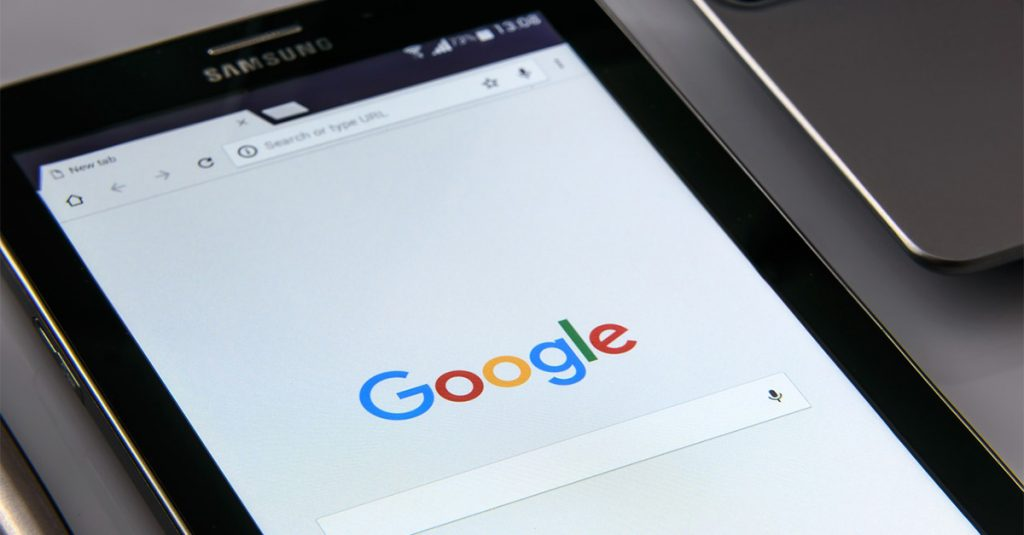Google search page on a tablet
