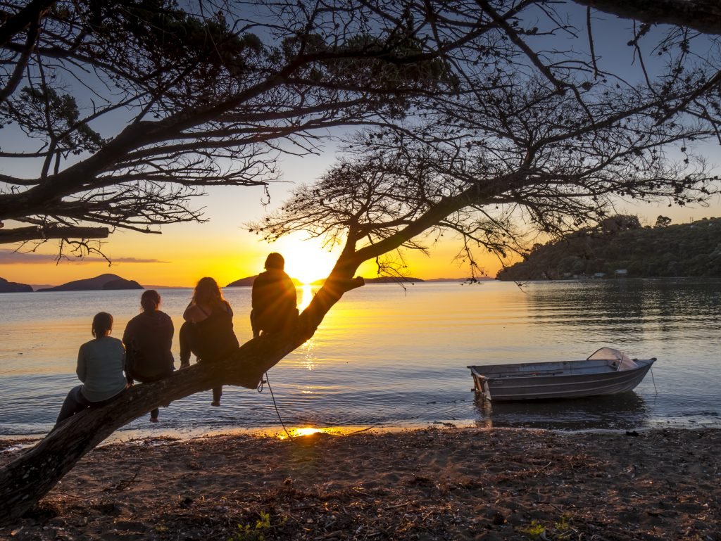 People sitting on a tree looking over the sunset at a lake