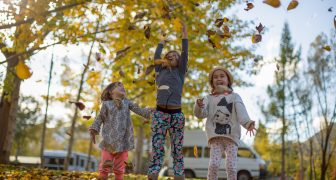 Children playing with leaves at TOP 10 Holiday Parks
