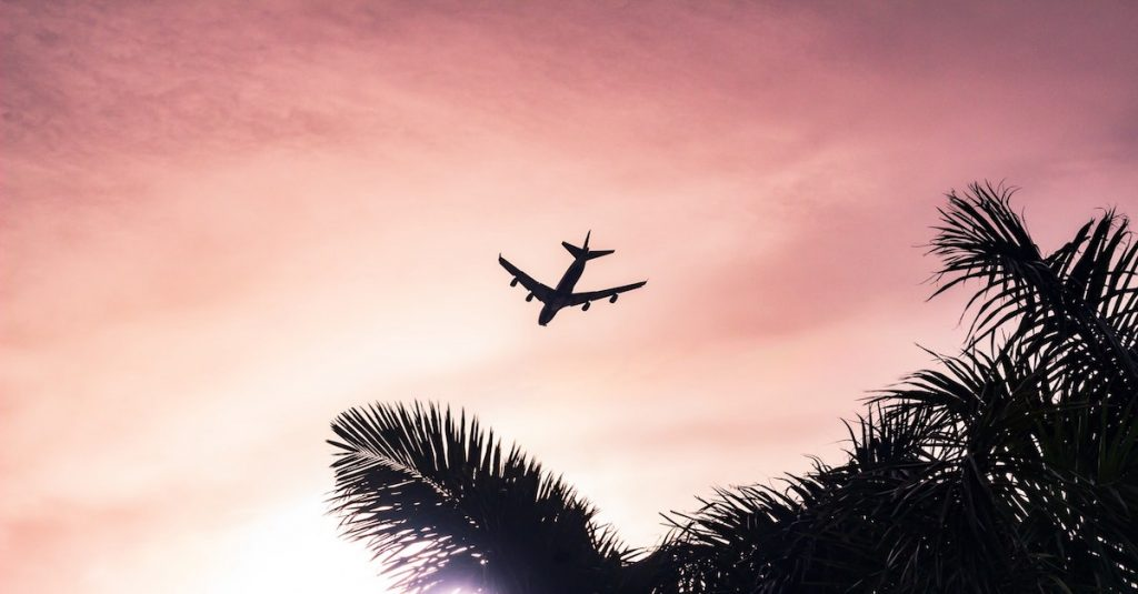 A plane flying over palm trees in a pink and orange colored sunset sky