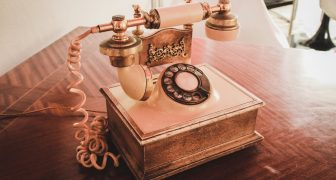 Old fashioned phone on desk
