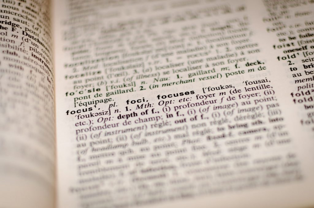 focused definition of the word focus