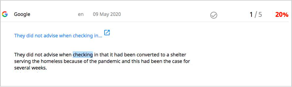 Google review where guest was not happy